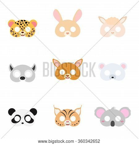 Set Of Assorted Animal Masks On Face, Dress-up, Party Accessory, Diy Animal Paper Masks, Photo Booth