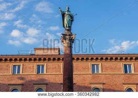 Statue Of Saint Dominic On A Square In Front Of Saint Dominic Basilica In Historic Part Of Bologna C
