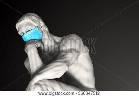 Sculpture Thinker In Medical Mask. Concept Of Coronavirus Quarantine. 3d Illustration.