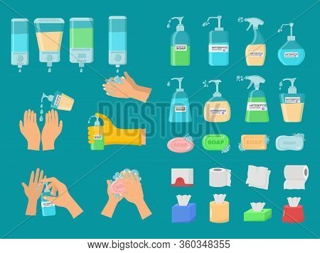 Soap, Antiseptic Gel And Other Hygienic Products. Antiseptic Spray In Flask Kills Bacteria. Hygiene