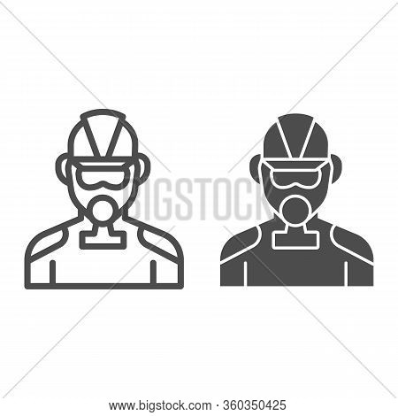 Firefighter Line And Solid Icon. Fireman With Respirator Outline Style Pictogram On White Background