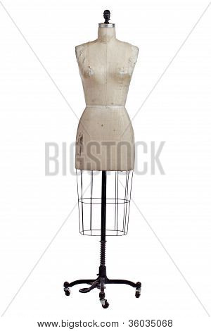 Antique Wire And Linen Dress Makers Form On Iron Stand