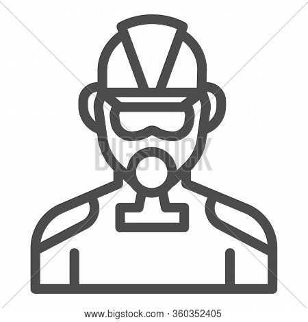Firefighter Line Icon. Fireman With Respirator Outline Style Pictogram On White Background. Man In F