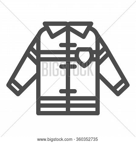 Fireman Uniform Line Icon. Fireproof Suit Outline Style Pictogram On White Background. Fire Jacket P