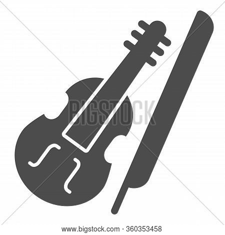 Violin And Bow Solid Icon. Fiddle With Fiddle-bow Glyph Style Pictogram On White Background. Musical
