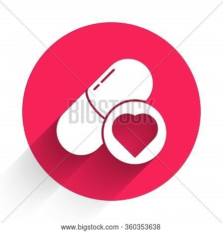 White Pills For Potency, Aphrodisiac Icon Isolated With Long Shadow. Sex Pills For Men And Women. Re
