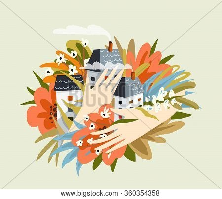 Love Housing And Accomodation Female Hands Holding Houses Homes And Flowers. Realty Realtor And Real