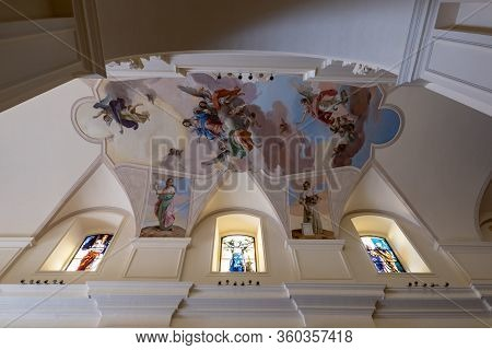 Noto, Sicily - February 13, 2020: Ceiling Paintings In Interior Of The Noto Cathedral (cattedrale Di