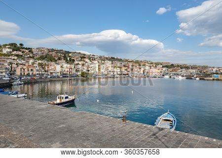 Aci Trezza, Sicily - February 14, 2020: Cityscape Of The Aci Trezza City In Sicily With Harbour And