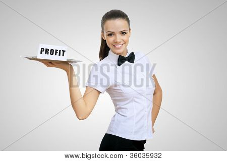 Waitress holding a tray with word profit