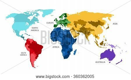World Map Divided Into Six Continents In Different Color. World Map 6 Continents Isolated On White B