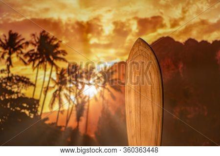 Surfboard at the tropical beach
