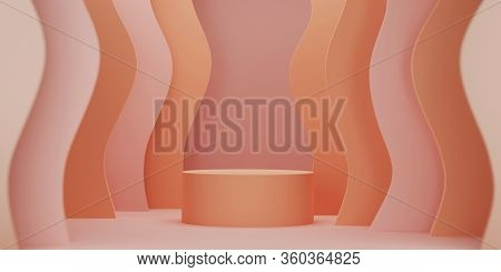 3d Podium Display With Wavy Shapes . Abstract Minimal Product Promotion Pedestal With Copy Space. Em