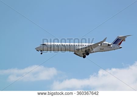 Paris, France - May 12, 2012 : Passenger Aircraft Bombardier Crj - 701, Airline - Air France (brit A