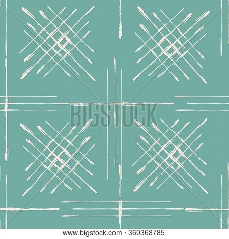 Abstract Vector Broken Line Grid Seamless Pattern Background. Scratch Grunge Brush Style Woven Squar