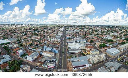 Campo Grande - Ms, Brazil - March 30, 2020: Aerial View Of The Avenida Eduardo Elias Zahran Avenue A