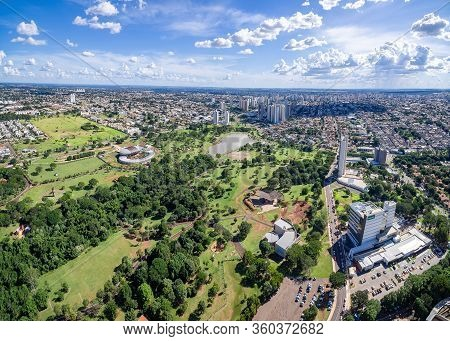 Campo Grande - Ms, Brazil - March 31, 2020: Panoramic Aerial View Of The City Of Campo Grande Ms, Br