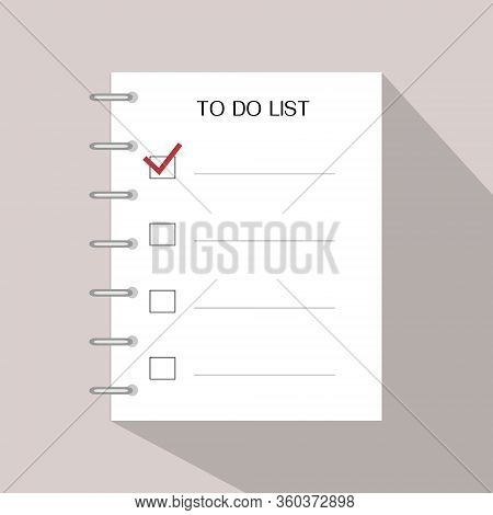 To Do List. Checklist With Flat Shadow On Background. Note For Writes A Motivational Plan. Empty Bla