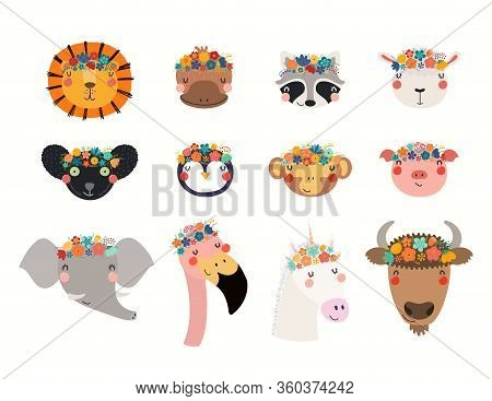 Big Set With Cute Funny Animals In Flower Crowns. Hand Drawn Vector Illustration. Isolated Objects O