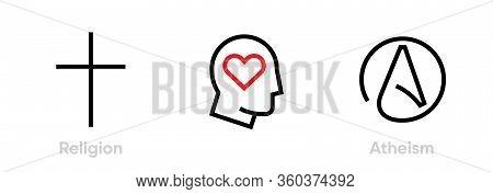 Set Of Christianity, Human Love And Atheism Icons. Editable Line Vector.