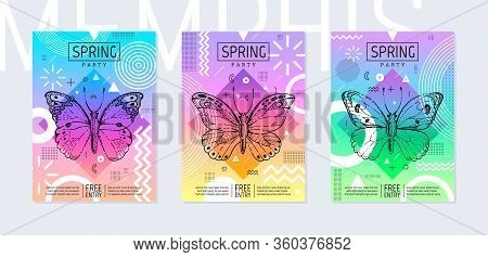 Rainbow Butterfly Spring Poster Set In Geometric Style. Disco Light Neon Art. Memphis Prism Trendy E