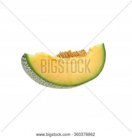Cantaloupe Melon Slice On White Background