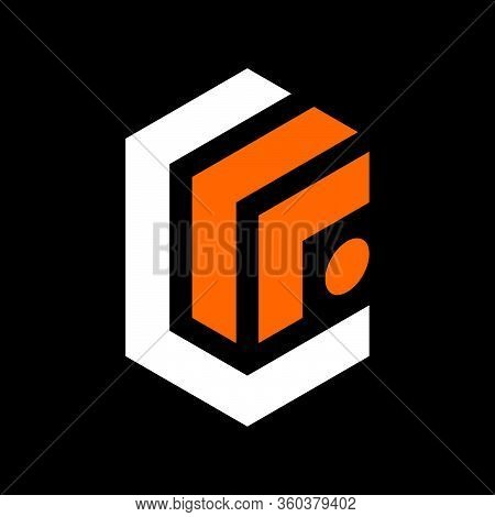Initial Letter L Or C F Logo Template With Modern Geometric 3d Cube Illustration In Flat Design Mono