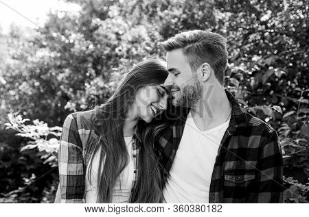 Man Hipster And Pretty Woman In Love. Summer Vacation. Fall In Love. Pure Feelings. Romantic Date Co
