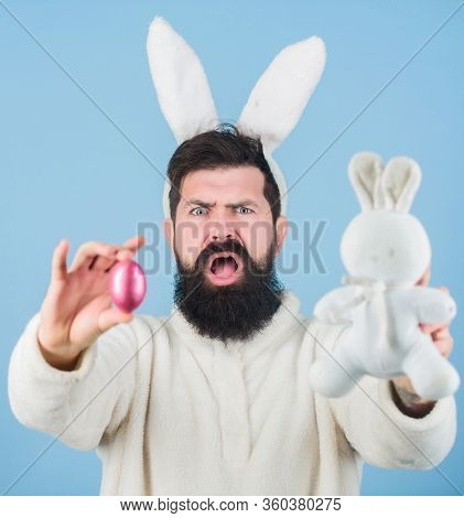 Easter Symbol Concept. Bearded Man Wear Bunny Ears. Egg Hunt. Look What I Found. Hipster Cute Bunny