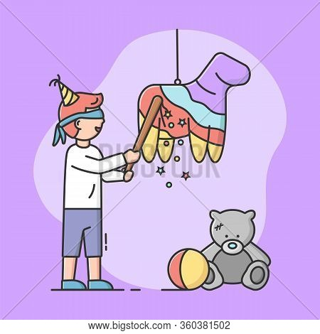 Birthday Party Celebration Concept. Birthday Boy Is Going To Broke Pinata By Bat With Blindfold. Hap