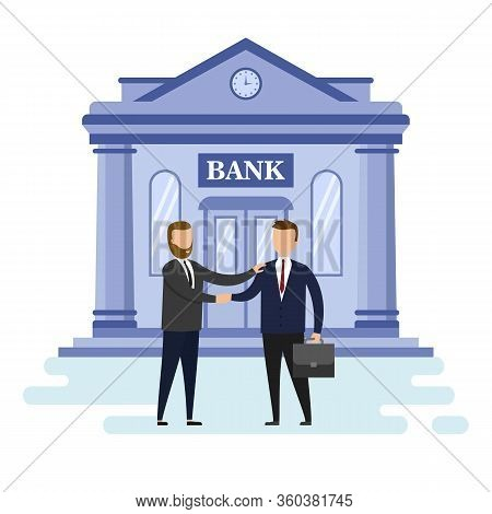 Concept Of Mortgage Loan, Business And Partnership. Two Cute Successful Businessmen Has Make A Deal