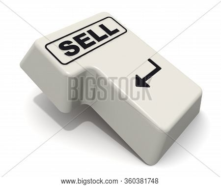 The Enter Key Of Keyboard Labeled Sell. Computer Enter Key Of Keyboard With Black Word Sell Isolated