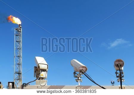 Cctv Cameras Installed In Oil And Gas Plateform. The Cctv Security Camera Operating. Camera Video. C