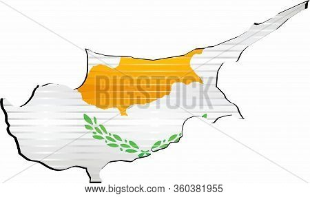 Shiny Grunge Map Of The Cyprus - Illustration,  Three Dimensional Map Of Cyprus