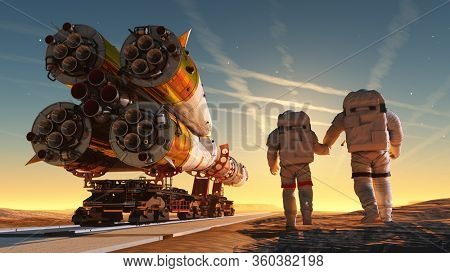 Space rocket and astronaut.,3d render