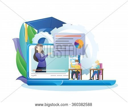 Vector Illustration Online Education Or E-learning Concept. Online Education Concept Banner With Cha