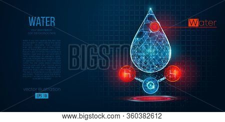 Abstract Silhouette Of The Polygonal Water On Blue Background. Chemical Structure Of Water. H2o Form