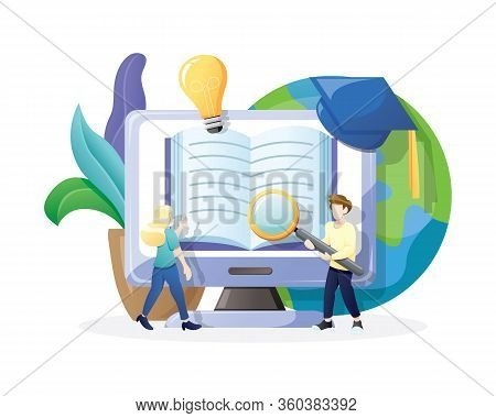 Vector Illustration Online Education Or E-learning Concept. Online Reading And Online Library Concep