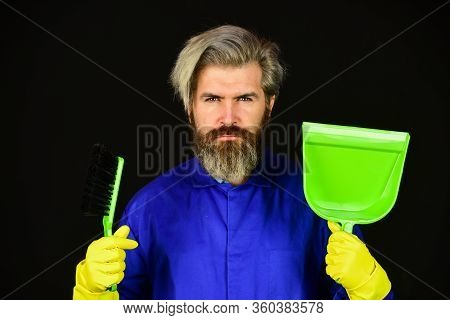 I Did It. Male Janitor Cleaning With Broom. Man Cleaning Home With Broom. Janitor Man Sweeping. Spri