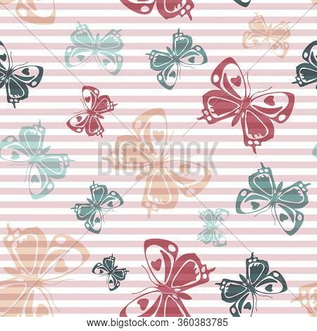 Flying Cute Butterfly Silhouettes Over Striped Background Vector Seamless Pattern. Girlish Fashion T