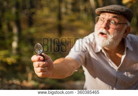 Private Investigation. Zoom. Curiosity Concept. Picky Detective In Forest. Explore Nature. Pensioner