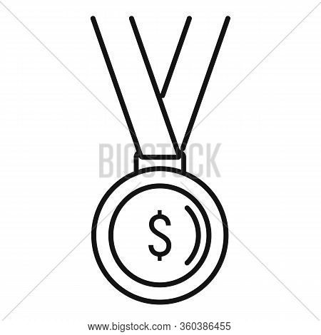 Startup Gold Medal Icon. Outline Startup Gold Medal Vector Icon For Web Design Isolated On White Bac