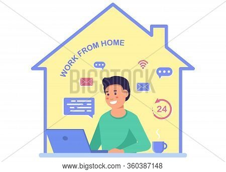 A man with a computer works from home. Stay at home, programming, remote work, freelancing. Quarantine to coronovirus. Self-isolation. Work from home. Flat vector concept. Coronavirus stay home. Work from home. Freelance Business man at his desk is workin