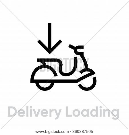 Delivery Loading Bike Icon. Editable Line Vector.