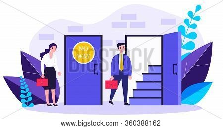 Woman Standing Near Closed Door And Man Going Into Open One Flat Vector Illustration. Social Inequal