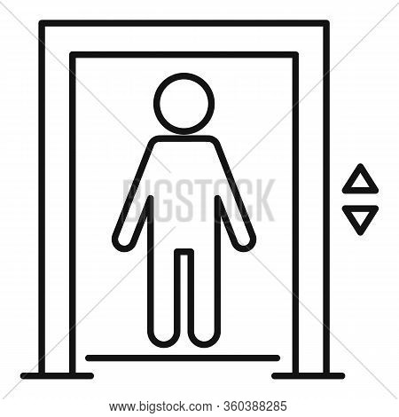 Kid Elevator Icon. Outline Kid Elevator Vector Icon For Web Design Isolated On White Background