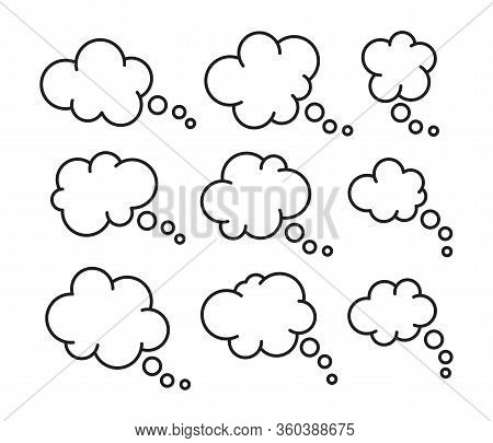 Vector Set Of Thought Thin Line Bubbles Isolated On White Background. Space For Thinking Or Speech T