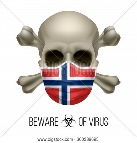 Human Skull With Crossbones And Surgical Mask In The Color Of National Flag Norway. Mask In Form Of