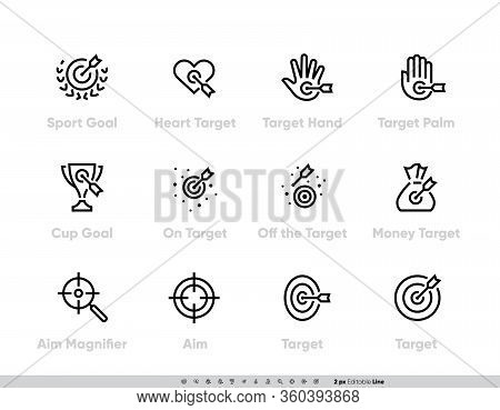 Sport Goal And Targets Icon Set. Heart, Hand, Palm, Cup, Aim On Money, Magnifier Vector Icons. Edita