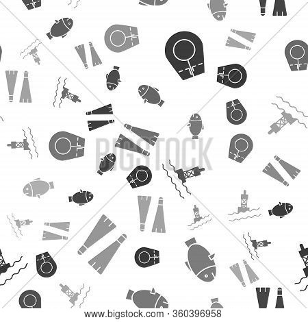 Set Diving Hood, Fish, Floating Buoy On The Sea And Rubber Flippers For Swimming On Seamless Pattern